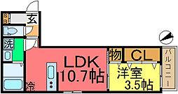 Cefiro セフィーロ 3階1LDKの間取り