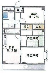 東京都世田谷区喜多見6丁目の賃貸マンションの間取り
