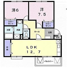 メゾンド本城A[2階]の間取り