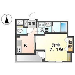 JR山陽新幹線 岡山駅 徒歩13分の賃貸マンション 2階1Kの間取り