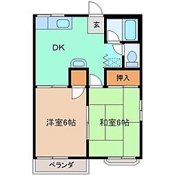 ファミーユふじ A棟[203号室]の間取り
