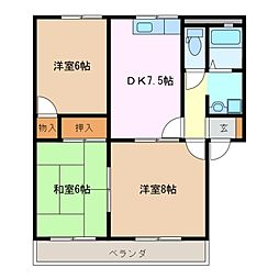 メモリアルアベニューB[2階]の間取り