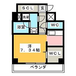 K Smart Kanayama 2階ワンルームの間取り