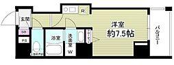 都営大江戸線 門前仲町駅 徒歩5分の賃貸マンション 5階ワンルームの間取り