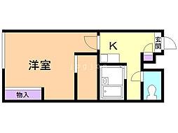 ラフォーレ澄川 2階1Kの間取り