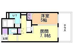 CITY RESIDENCE 幌平橋 1階1LDKの間取り