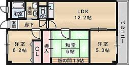 阪急千里線 南千里駅 徒歩23分の賃貸マンション 6階3LDKの間取り