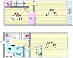 仙台市営南北線 長町一丁目駅 徒歩36分の賃貸アパート 1階2LDKの間取り