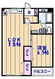 エスポアール海神No2[203号室]の間取り