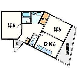 兵庫県西宮市上甲子園3丁目の賃貸マンションの間取り