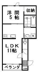 フォンテーヌ弥生II 1階1LDKの間取り