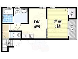 阪急宝塚本線 服部天神駅 徒歩12分の賃貸アパート 2階1DKの間取り