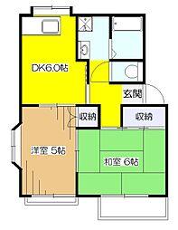 東京都東大和市清水6丁目の賃貸アパートの間取り