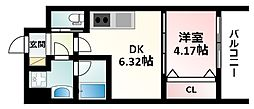 Osaka Metro御堂筋線 江坂駅 徒歩12分の賃貸マンション 9階1DKの間取り