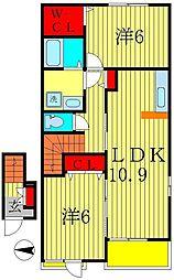 千葉県松戸市幸田の賃貸アパートの間取り