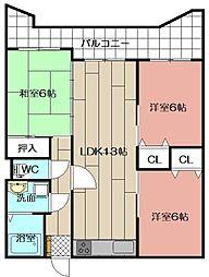 サンライフ浅香 1102[11階]の間取り