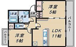 シャトー東豊中[2階]の間取り