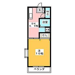 ヴィラハピネス[3階]の間取り
