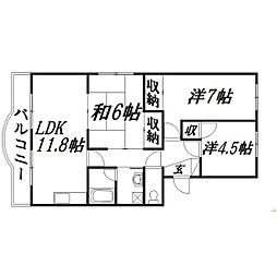 静岡県浜松市中区上島4丁目の賃貸マンションの間取り
