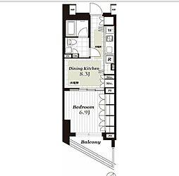 東急東横線 代官山駅 徒歩1分の賃貸マンション 4階1DKの間取り