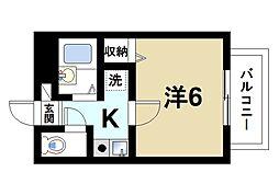 ラポール田井庄A 2階1Kの間取り