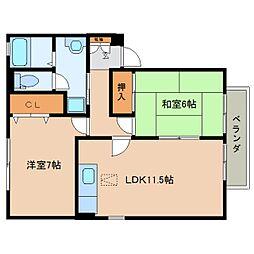 奈良県香芝市西真美1丁目の賃貸アパートの間取り