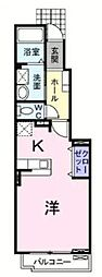 JR福塩線 万能倉駅 徒歩5分の賃貸アパート 1階1Kの間取り