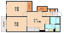 福岡県福岡市南区弥永2丁目の賃貸アパートの間取り