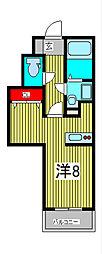 CROSS COURT NAKA-AOKI 1階ワンルームの間取り