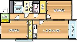 グリーンビルナカムラ本城II[3階]の間取り
