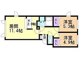 仮)平岸4条16丁目新築アパート 2階2LDKの間取り