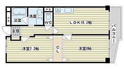 高槻センチュリーマンション[406号室]の間取り
