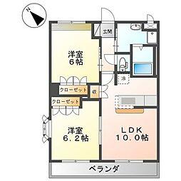 JR山陽本線 備後赤坂駅 徒歩28分の賃貸アパート 2階2LDKの間取り
