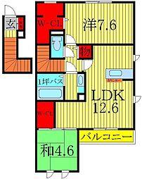 千葉県柏市酒井根2丁目の賃貸アパートの間取り