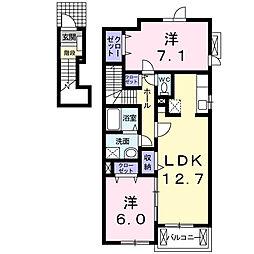 愛知県名古屋市名東区極楽2丁目の賃貸アパートの間取り