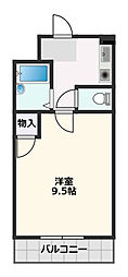 朝日が丘尾田ハイツ 1階1Kの間取り