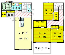 [テラスハウス] 福岡県福岡市東区奈多2丁目 の賃貸【福岡県 / 福岡市東区】の間取り