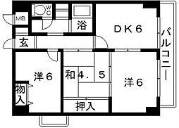 上三青山ハイツ[9階]の間取り