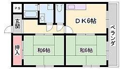 JR播但線 寺前駅 徒歩20分の賃貸マンション 3階2DKの間取り
