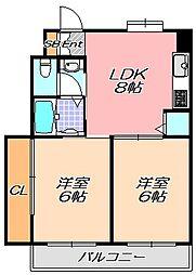 兵庫県神戸市灘区城の下通3丁目の賃貸マンションの間取り