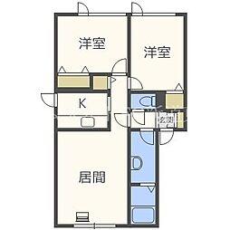 北海道札幌市北区拓北五条4丁目の賃貸アパートの間取り