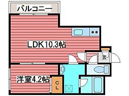 サンシャイン1−9[4階]の間取り