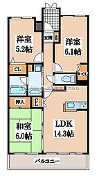 東急ドエルアルス新石切[8階]の間取り