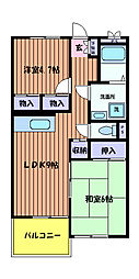 東京都日野市日野本町1丁目の賃貸マンションの間取り