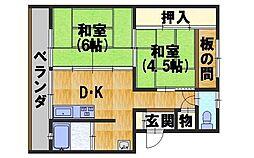 京都ハウス[404号室]の間取り
