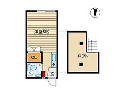東京都世田谷区池尻3丁目の賃貸アパートの間取り