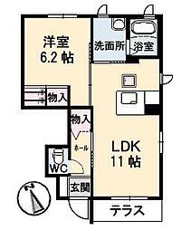 山口県下関市長府三島町の賃貸アパートの間取り