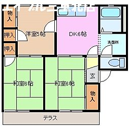 ハウスサンホワイト 3[1階]の間取り