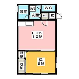 コスモハイツ壬生[2階]の間取り