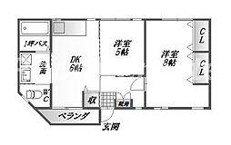 徳島県徳島市蔵本町3丁目の賃貸マンションの間取り
